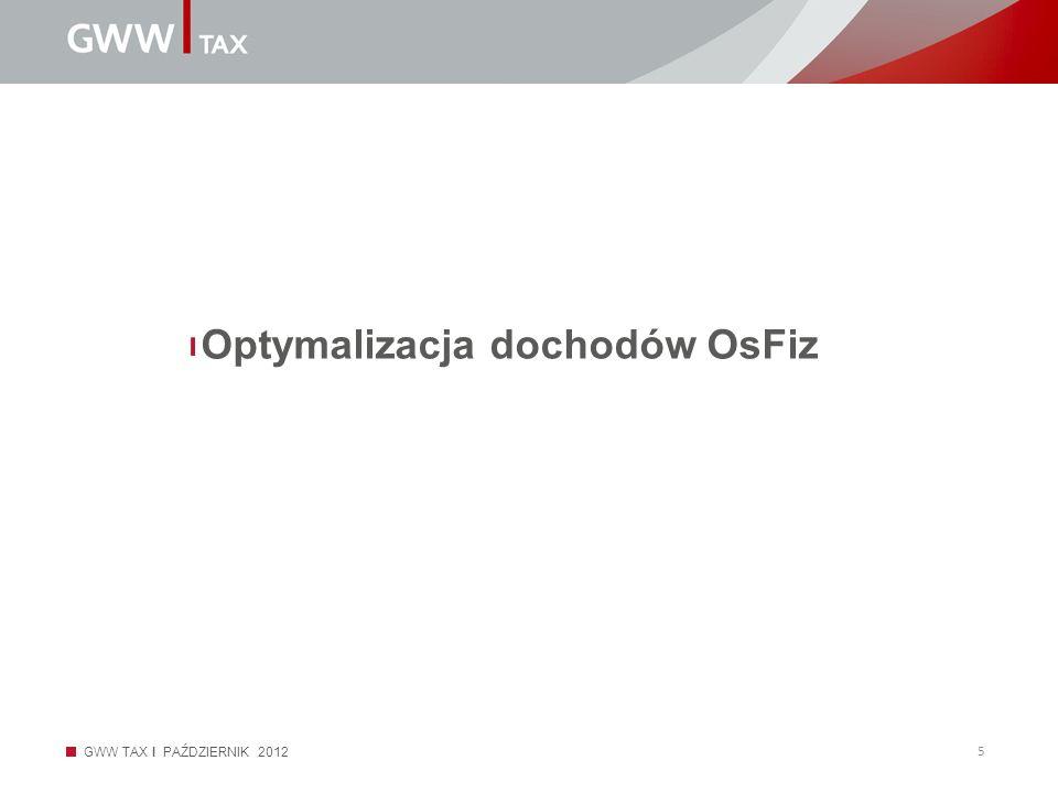 GWW TAX I PAŹDZIERNIK 2012 5 Optymalizacja dochodów OsFiz