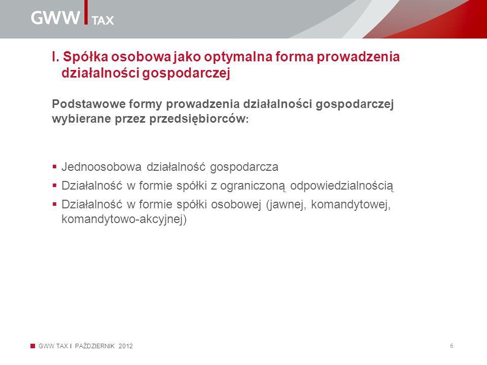 GWW TAX I PAŹDZIERNIK 2012 6 I. Spółka osobowa jako optymalna forma prowadzenia działalności gospodarczej Podstawowe formy prowadzenia działalności go