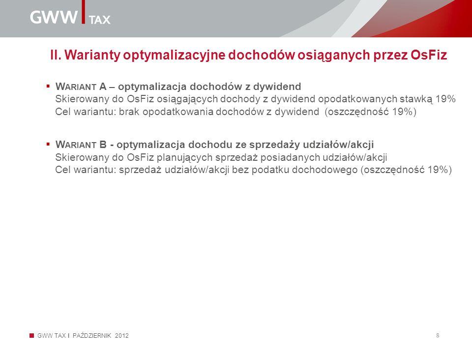 GWW TAX I PAŹDZIERNIK 2012 8 II. Warianty optymalizacyjne dochodów osiąganych przez OsFiz W ARIANT A – optymalizacja dochodów z dywidend Skierowany do