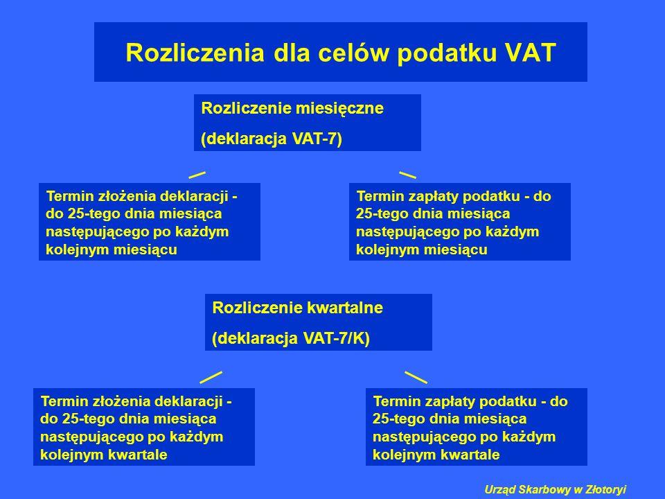 Rozliczenia dla celów podatku VAT Rozliczenie miesięczne (deklaracja VAT-7) Termin złożenia deklaracji - do 25-tego dnia miesiąca następującego po każ