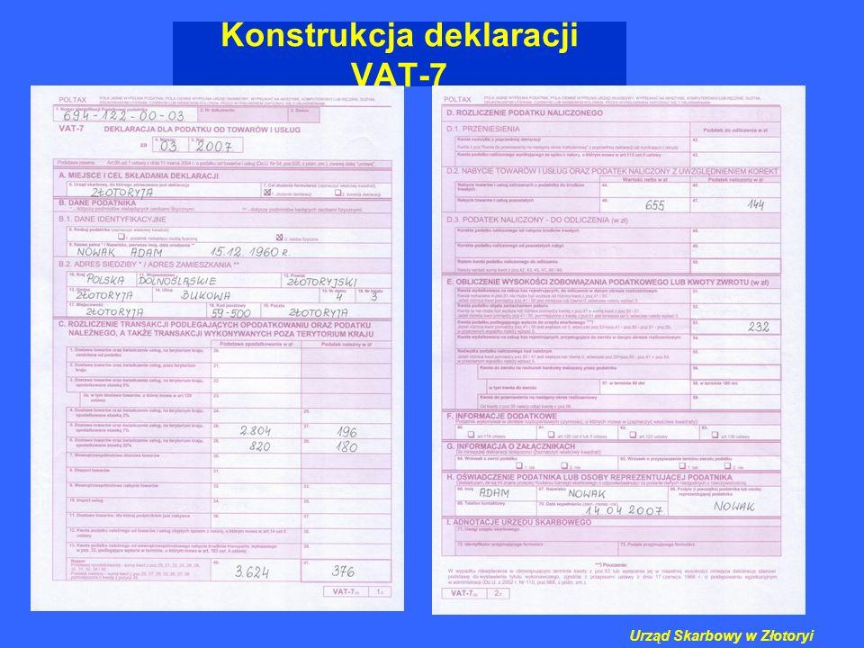 Konstrukcja deklaracji VAT-7 Urząd Skarbowy w Złotoryi