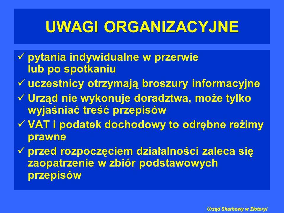 UWAGI ORGANIZACYJNE pytania indywidualne w przerwie lub po spotkaniu uczestnicy otrzymają broszury informacyjne Urząd nie wykonuje doradztwa, może tyl
