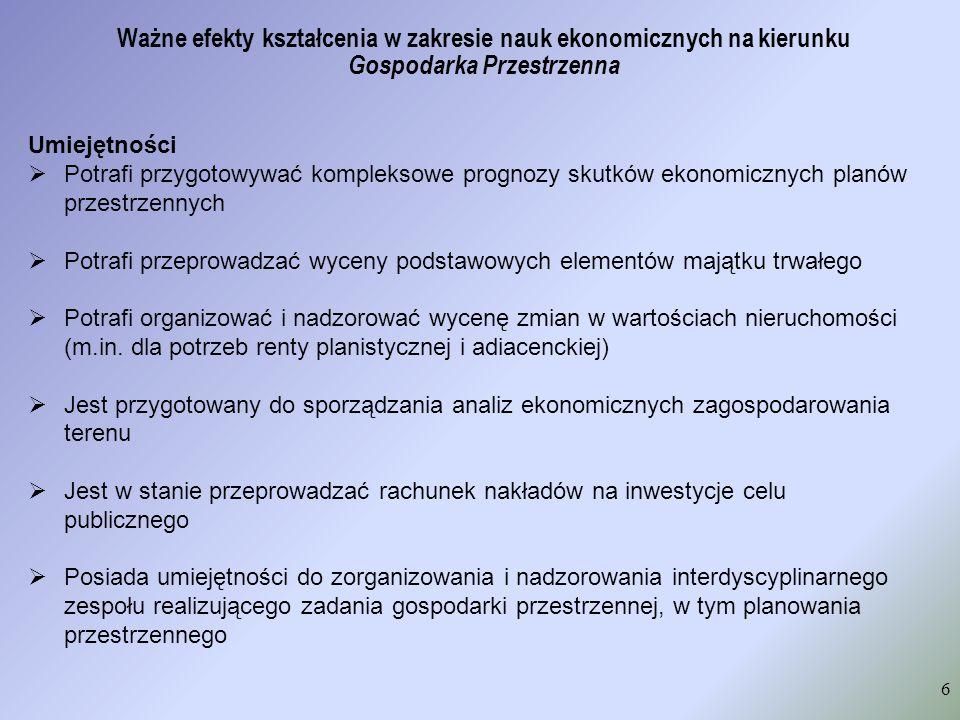 struktura obszarowa efektów w Uniwersytecie Ekonomicznym w Krakowie (wg metodologii Kraśniewskiego) Studia licencjackie: Nauki społeczne50% Nauki przyrodnicze30% Nauki techniczne20% Studia inżynierskie: Nauki społeczne39% Nauki przyrodnicze24% Nauki techniczne26% Kompetencje inżynierskie11% Studia magisterskie: Nauki społeczne56% Nauki przyrodnicze25% Nauki techniczne19%