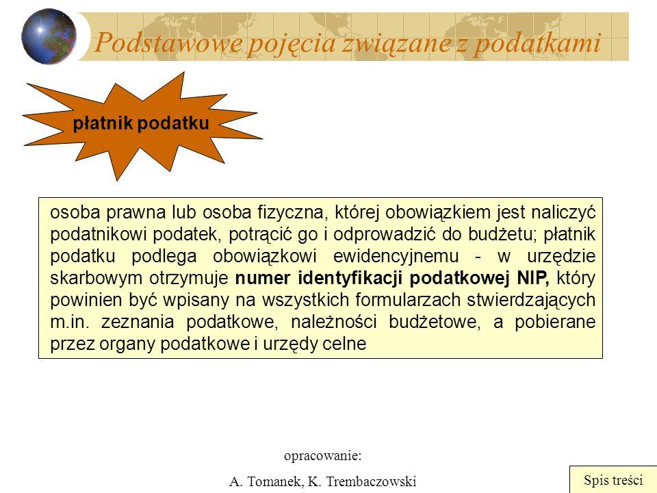 opracowanie: A. Tomanek, K. Trembaczowski Spis treści Podstawowe pojęcia związane z podatkami płatnik podatku osoba prawna lub osoba fizyczna, której