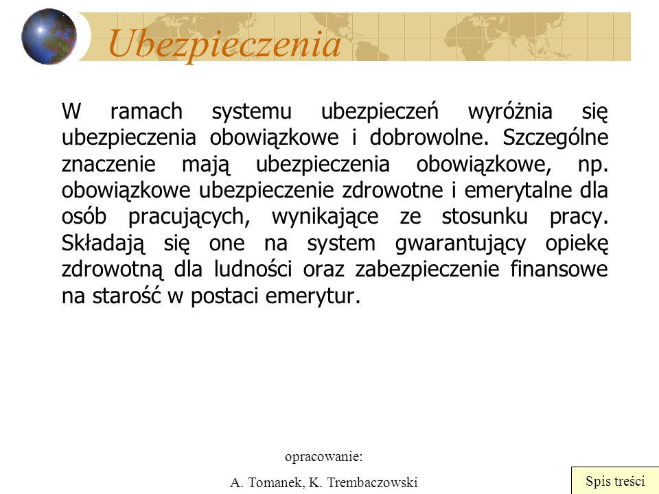 opracowanie: A. Tomanek, K. Trembaczowski Spis treści Ubezpieczenia W ramach systemu ubezpieczeń wyróżnia się ubezpieczenia obowiązkowe i dobrowolne.