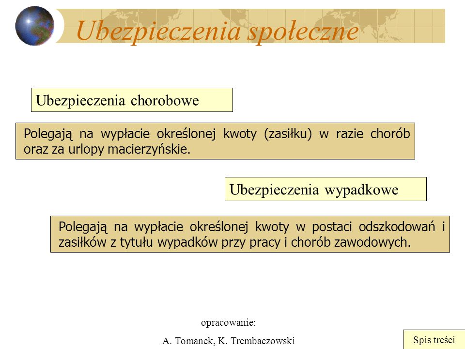 opracowanie: A. Tomanek, K. Trembaczowski Spis treści Ubezpieczenia społeczne Ubezpieczenia chorobowe Ubezpieczenia wypadkowe Polegają na wypłacie okr