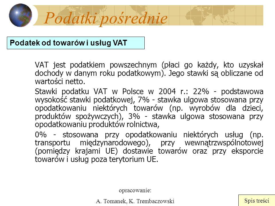 opracowanie: A. Tomanek, K. Trembaczowski Spis treści Podatki pośrednie VAT jest podatkiem powszechnym (płaci go każdy, kto uzyskał dochody w danym ro