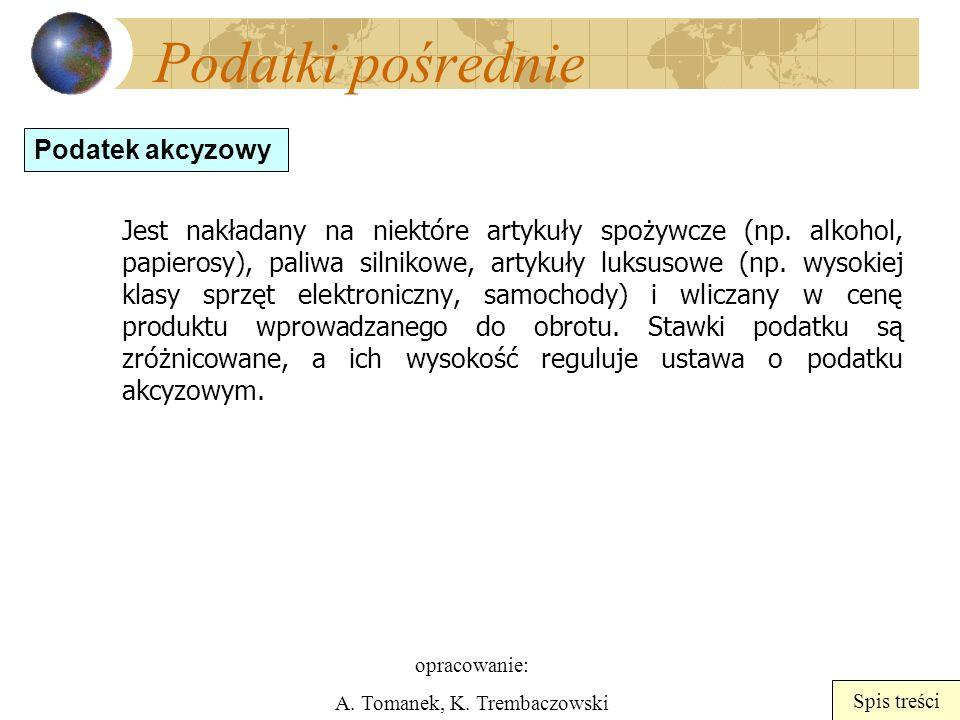 opracowanie: A. Tomanek, K. Trembaczowski Spis treści Podatki pośrednie Jest nakładany na niektóre artykuły spożywcze (np. alkohol, papierosy), paliwa