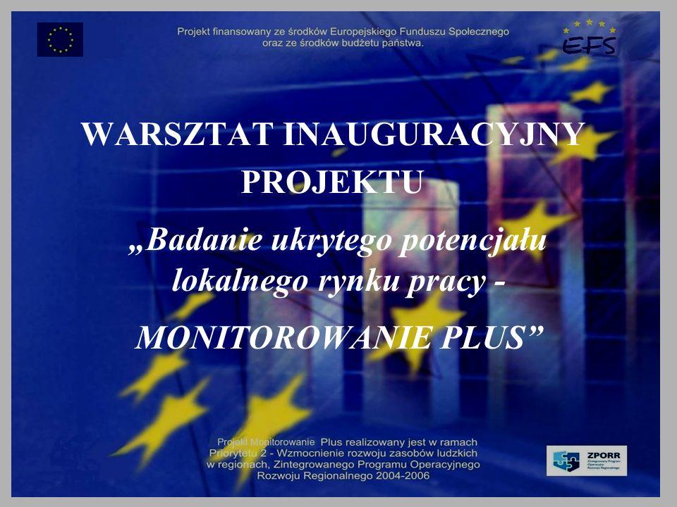 WARSZTAT INAUGURACYJNY PROJEKTU Badanie ukrytego potencjału lokalnego rynku pracy - MONITOROWANIE PLUS