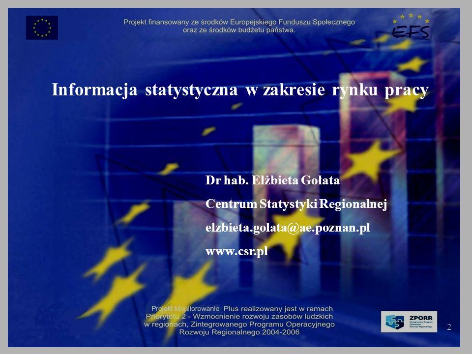 2 Informacja statystyczna w zakresie rynku pracy Dr hab.