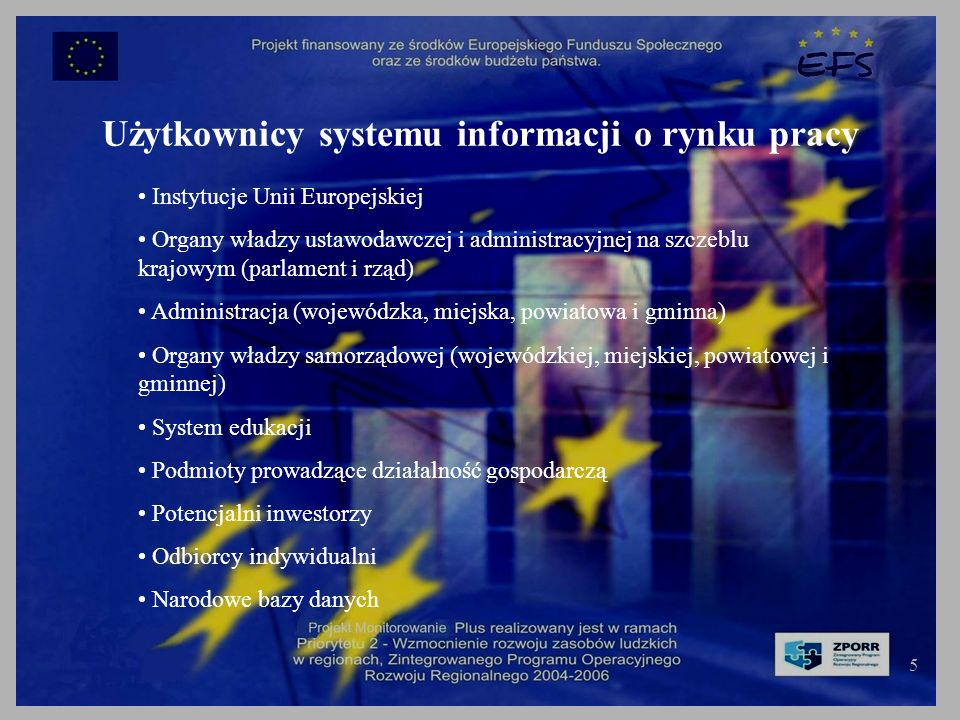 5 Użytkownicy systemu informacji o rynku pracy Instytucje Unii Europejskiej Organy władzy ustawodawczej i administracyjnej na szczeblu krajowym (parlament i rząd) Administracja (wojewódzka, miejska, powiatowa i gminna) Organy władzy samorządowej (wojewódzkiej, miejskiej, powiatowej i gminnej) System edukacji Podmioty prowadzące działalność gospodarczą Potencjalni inwestorzy Odbiorcy indywidualni Narodowe bazy danych