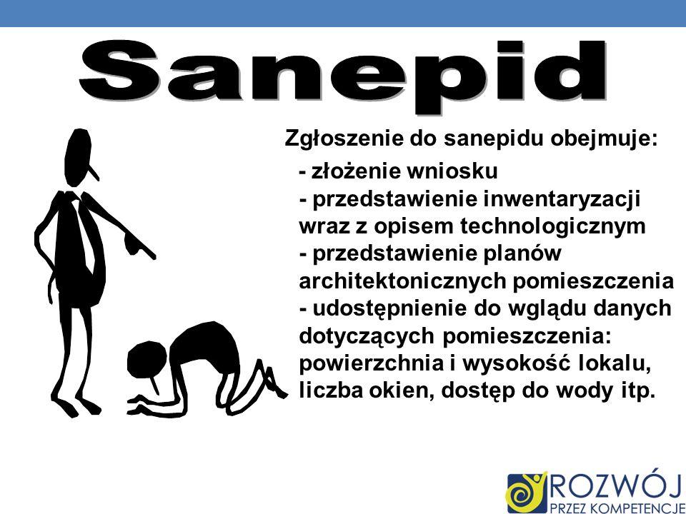 Zgłoszenie do sanepidu obejmuje: - złożenie wniosku - przedstawienie inwentaryzacji wraz z opisem technologicznym - przedstawienie planów architektoni
