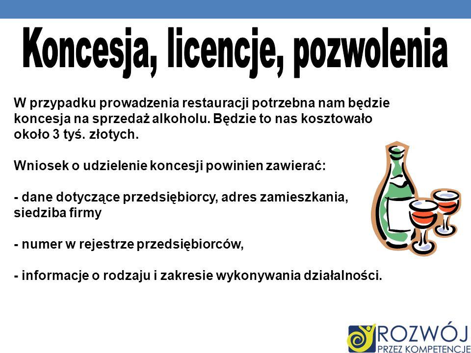 W przypadku prowadzenia restauracji potrzebna nam będzie koncesja na sprzedaż alkoholu.