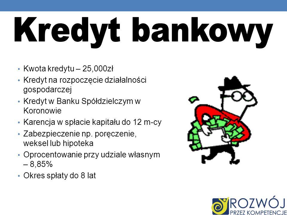 Kwota kredytu – 25,000zł Kredyt na rozpoczęcie działalności gospodarczej Kredyt w Banku Spółdzielczym w Koronowie Karencja w spłacie kapitału do 12 m-cy Zabezpieczenie np.