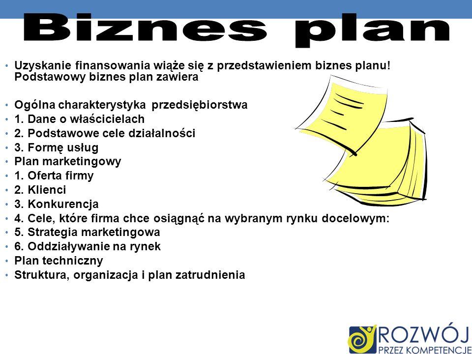 Uzyskanie finansowania wiąże się z przedstawieniem biznes planu! Podstawowy biznes plan zawiera Ogólna charakterystyka przedsiębiorstwa 1. Dane o właś
