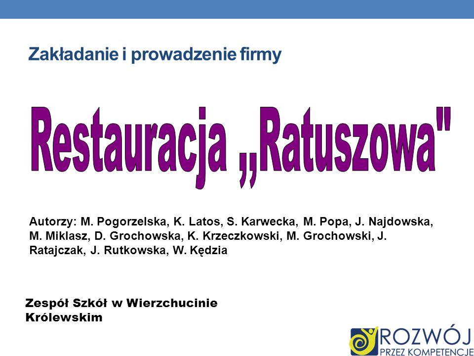 Zakładanie i prowadzenie firmy Autorzy: M. Pogorzelska, K. Latos, S. Karwecka, M. Popa, J. Najdowska, M. Miklasz, D. Grochowska, K. Krzeczkowski, M. G
