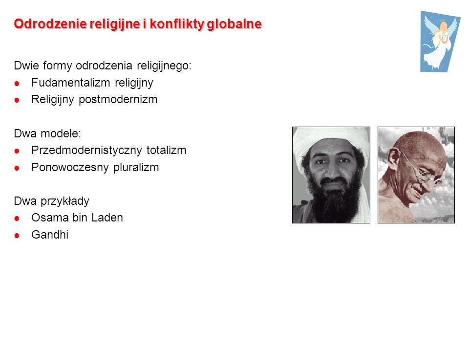 Odrodzenie religijne i konflikty globalne Dwie formy odrodzenia religijnego: Fudamentalizm religijny Religijny postmodernizm Dwa modele: Przedmodernistyczny totalizm Ponowoczesny pluralizm Dwa przykłady Osama bin Laden Gandhi