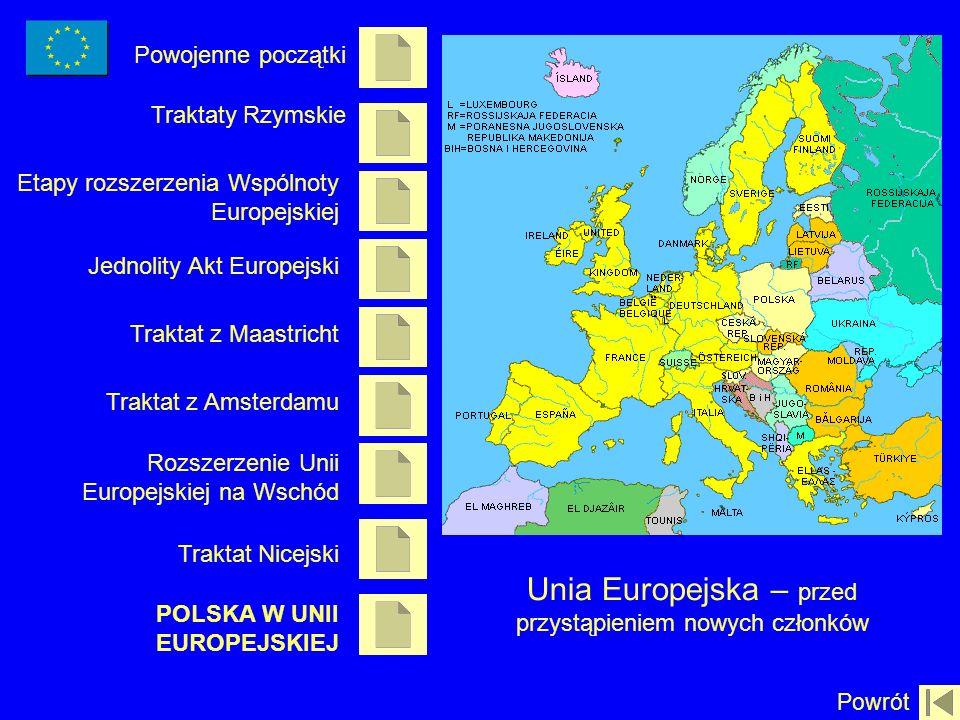 Powojenne początki Traktaty Rzymskie Etapy rozszerzenia Wspólnoty Europejskiej Traktat z Amsterdamu Rozszerzenie Unii Europejskiej na Wschód Traktat N