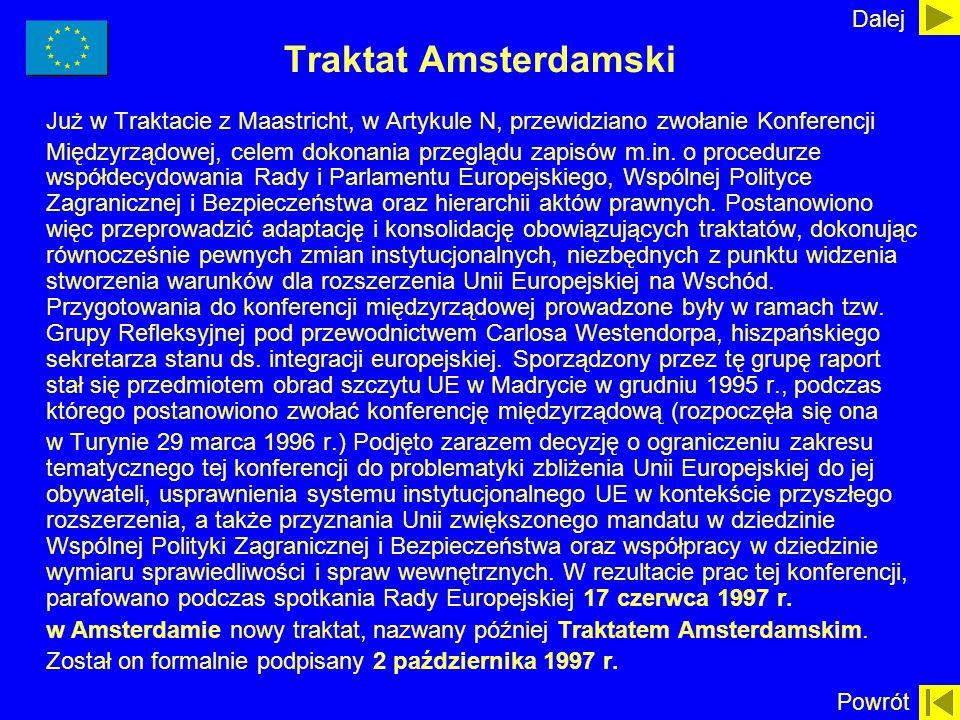 Traktat Amsterdamski Już w Traktacie z Maastricht, w Artykule N, przewidziano zwołanie Konferencji Międzyrządowej, celem dokonania przeglądu zapisów m