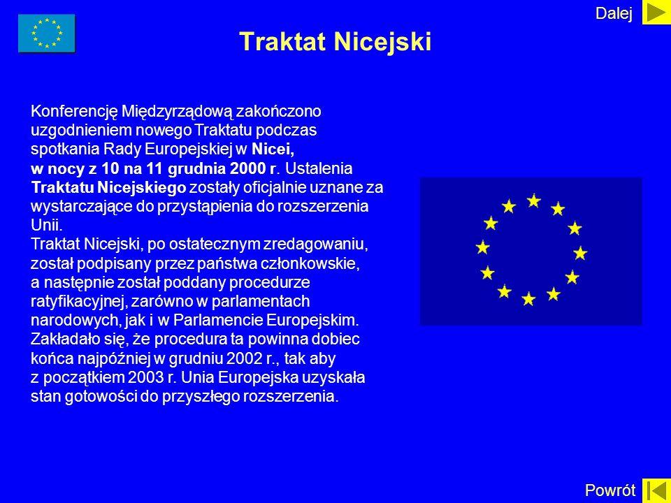 Traktat Nicejski Konferencję Międzyrządową zakończono uzgodnieniem nowego Traktatu podczas spotkania Rady Europejskiej w Nicei, w nocy z 10 na 11 grud