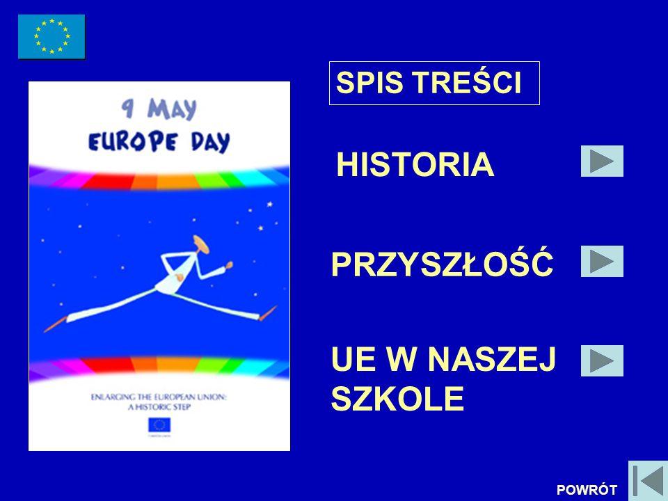 DZIEŃ EUROPEJSKI W NASZEJ SZKOLE KONCERT POŚWIĘCONY PRZYSTĄPIENIU POLSKI DO UNII EUROPEJSKIEJ KONKURS NA NAJSMACZNIEJSZĄ SAŁATKĘ (PRZEPISY NA SAŁATKI POCHODZIŁY Z KRAJÓW UE) LEKCJE EUROPEJSKIE W NASZEJ SZKOLE (1 GRUDZIEŃ 2005 ROK) POWRÓT
