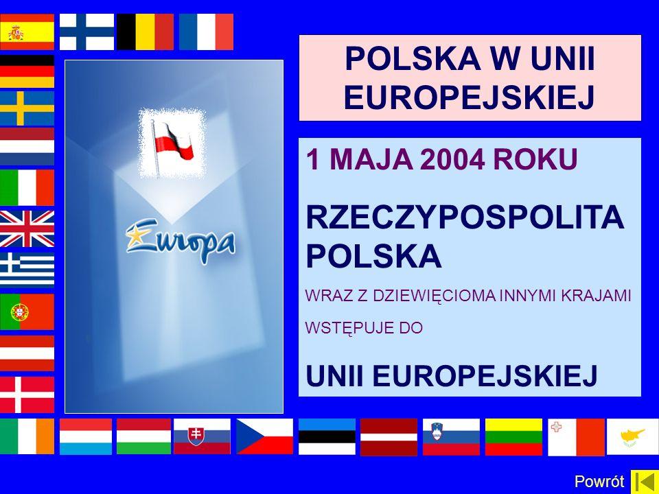 POLSKA W UNII EUROPEJSKIEJ 1 MAJA 2004 ROKU RZECZYPOSPOLITA POLSKA WRAZ Z DZIEWIĘCIOMA INNYMI KRAJAMI WSTĘPUJE DO UNII EUROPEJSKIEJ Powrót
