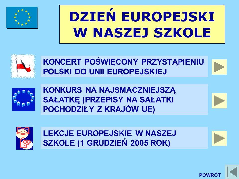 DZIEŃ EUROPEJSKI W NASZEJ SZKOLE KONCERT POŚWIĘCONY PRZYSTĄPIENIU POLSKI DO UNII EUROPEJSKIEJ KONKURS NA NAJSMACZNIEJSZĄ SAŁATKĘ (PRZEPISY NA SAŁATKI