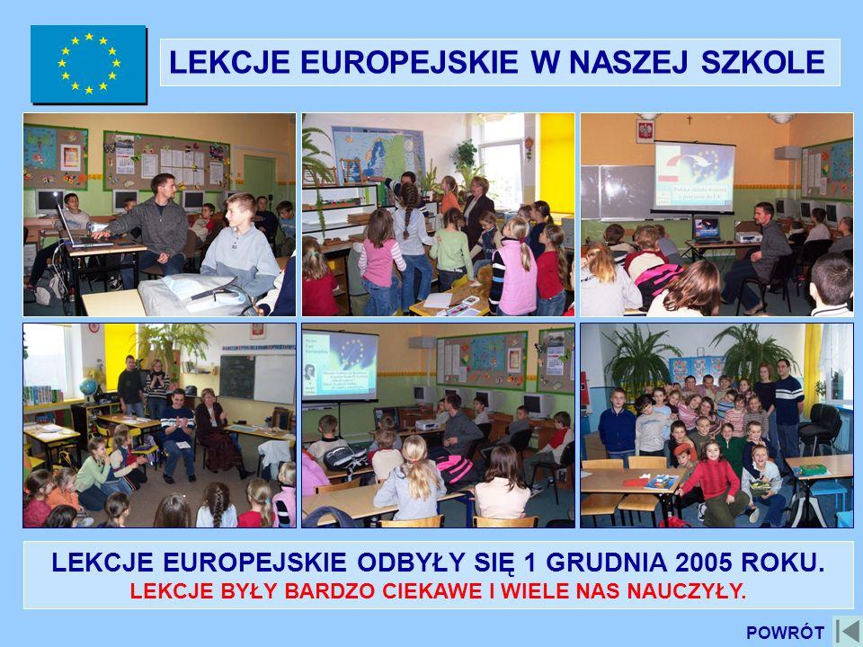 LEKCJE EUROPEJSKIE W NASZEJ SZKOLE LEKCJE EUROPEJSKIE ODBYŁY SIĘ 1 GRUDNIA 2005 ROKU. LEKCJE BYŁY BARDZO CIEKAWE I WIELE NAS NAUCZYŁY. POWRÓT