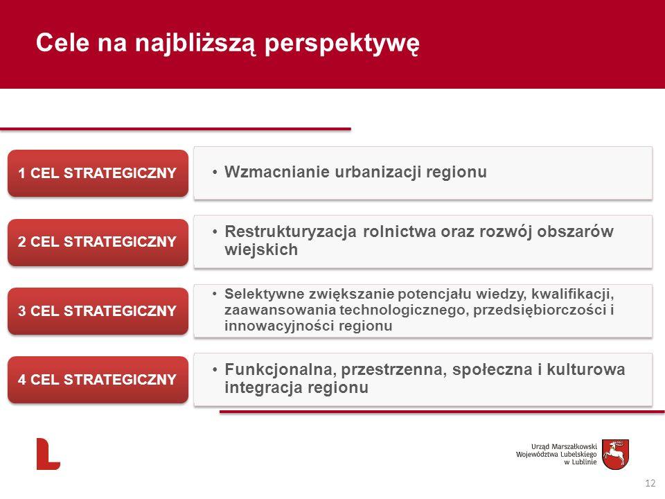 12 Cele na najbliższą perspektywę Wzmacnianie urbanizacji regionu 1 CEL STRATEGICZNY Restrukturyzacja rolnictwa oraz rozwój obszarów wiejskich 2 CEL S