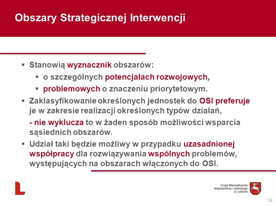 14 Obszary Strategicznej Interwencji Stanowią wyznacznik obszarów: o szczególnych potencjałach rozwojowych, problemowych o znaczeniu priorytetowym. Za