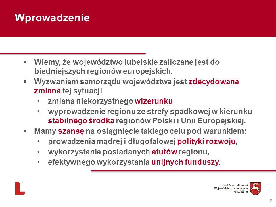 Wprowadzenie 2 Wiemy, że województwo lubelskie zaliczane jest do biedniejszych regionów europejskich. Wyzwaniem samorządu województwa jest zdecydowana