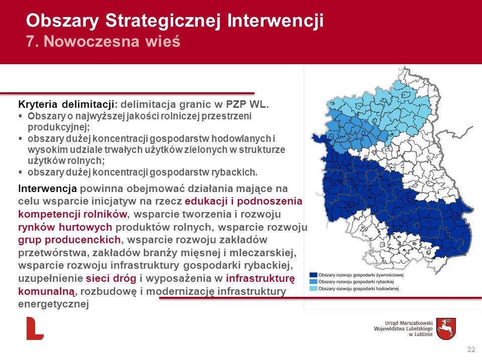 22 Obszary Strategicznej Interwencji 7. Nowoczesna wieś Kryteria delimitacji: delimitacja granic w PZP WL. Obszary o najwyższej jakości rolniczej prze