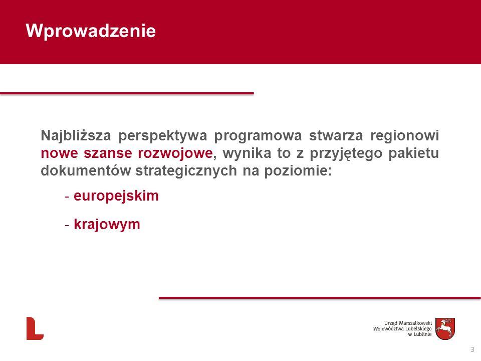 Wprowadzenie 3 Najbliższa perspektywa programowa stwarza regionowi nowe szanse rozwojowe, wynika to z przyjętego pakietu dokumentów strategicznych na