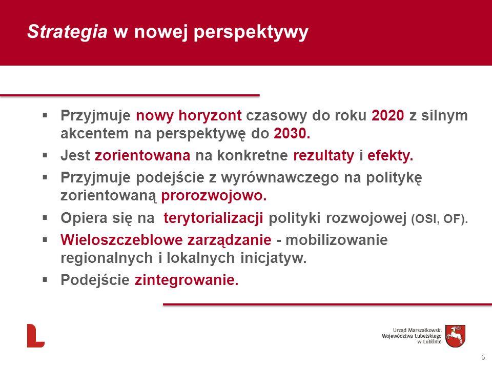Strategia w nowej perspektywy Przyjmuje nowy horyzont czasowy do roku 2020 z silnym akcentem na perspektywę do 2030. Jest zorientowana na konkretne re