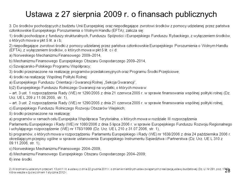 Ustawa z 27 sierpnia 2009 r.o finansach publicznych 3.