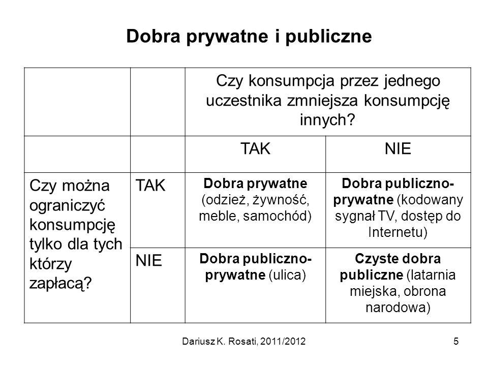 Dostarczanie dóbr publicznych I Optymalna podaż dóbr publicznych: gdy koszt krańcowy równa się sumie krańcowych stóp substytucji (cen) wszystkich uczestników rynku: MC = MRS(1) + MRS(2) + … + MRS(n); Jednak sektor prywatny z reguły albo w ogóle nie dostarcza dóbr publicznych, albo w niedostatecznej ilości (underprovisioning) z powodu problemu gapowicza, (free rider problem), co stwarza konieczność interwencji publicznej; Wyjątki: altruizm, poczucie solidarności, chęć poprawy wizerunku i opinii w środowisku (tzw.