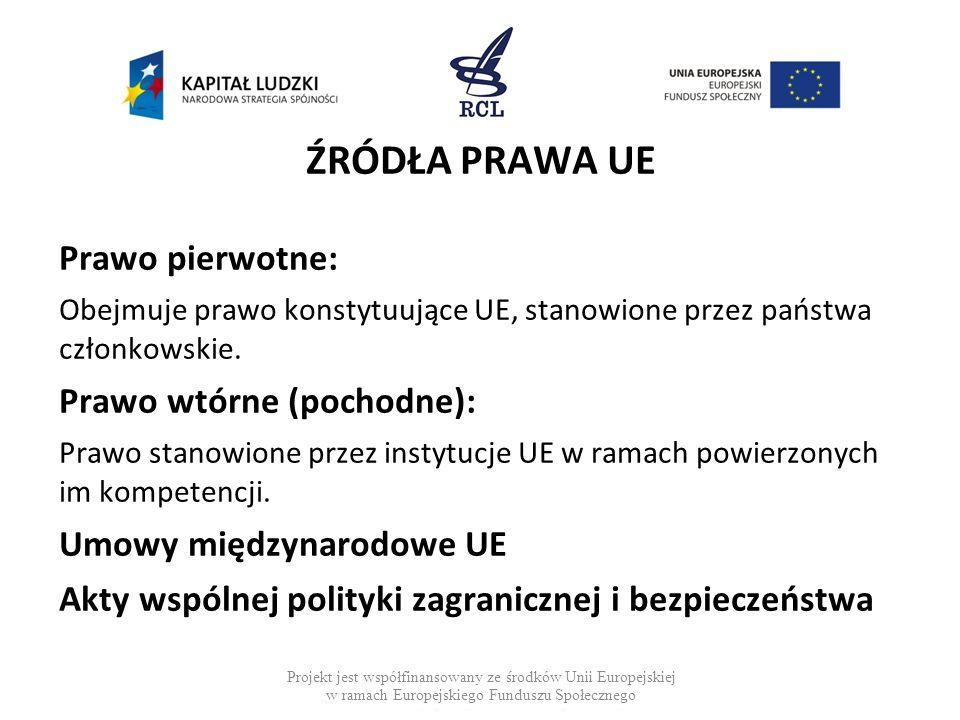 ŹRÓDŁA PRAWA UE Prawo pierwotne: Obejmuje prawo konstytuujące UE, stanowione przez państwa członkowskie. Prawo wtórne (pochodne): Prawo stanowione prz