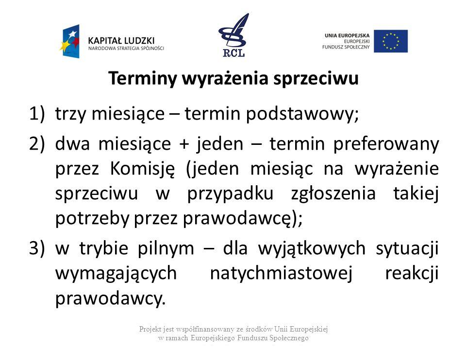 Terminy wyrażenia sprzeciwu 1)trzy miesiące – termin podstawowy; 2)dwa miesiące + jeden – termin preferowany przez Komisję (jeden miesiąc na wyrażenie