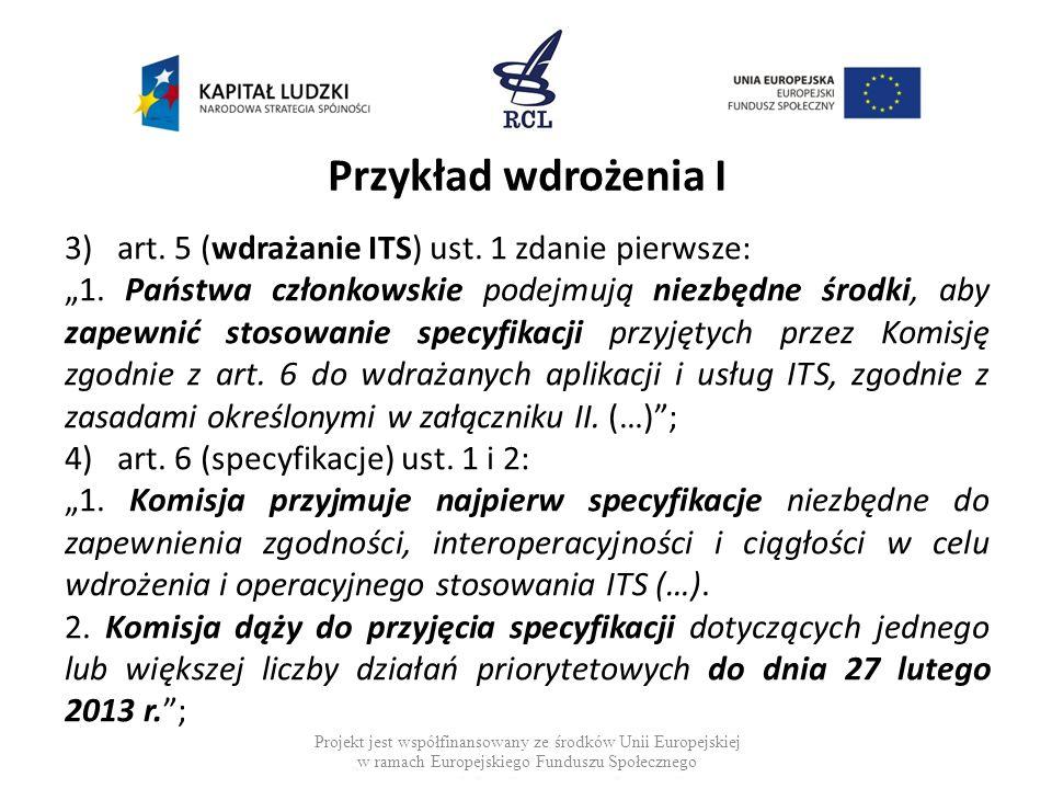 Przykład wdrożenia I 3)art. 5 (wdrażanie ITS) ust. 1 zdanie pierwsze: 1. Państwa członkowskie podejmują niezbędne środki, aby zapewnić stosowanie spec