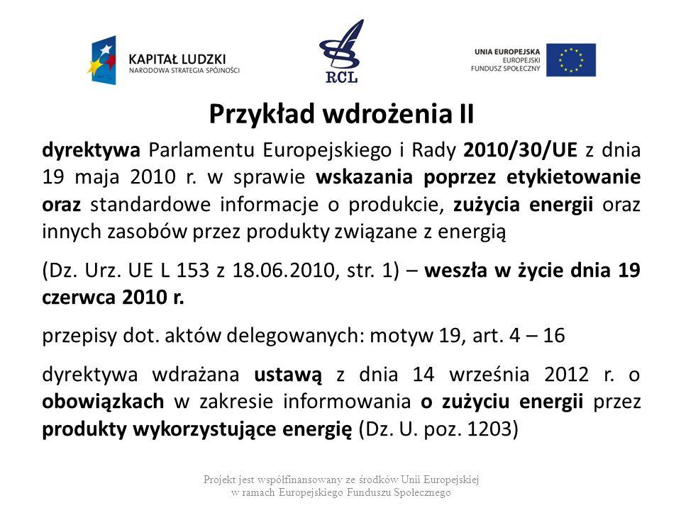 Przykład wdrożenia II dyrektywa Parlamentu Europejskiego i Rady 2010/30/UE z dnia 19 maja 2010 r. w sprawie wskazania poprzez etykietowanie oraz stand
