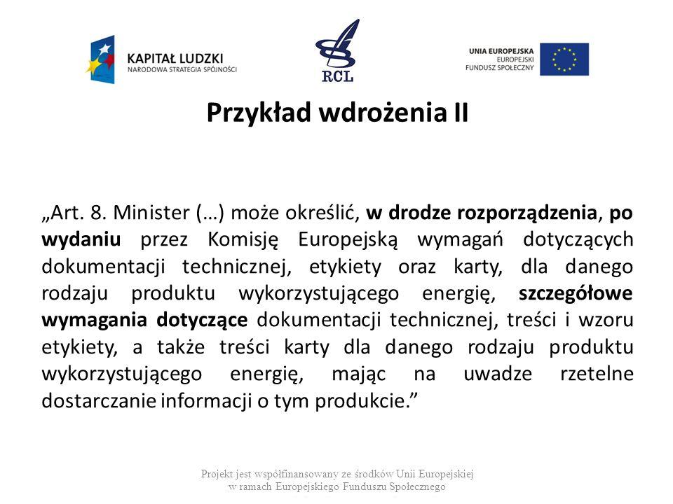 Przykład wdrożenia II Art. 8. Minister (…) może określić, w drodze rozporządzenia, po wydaniu przez Komisję Europejską wymagań dotyczących dokumentacj