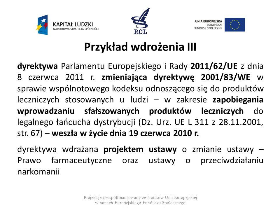 Przykład wdrożenia III dyrektywa Parlamentu Europejskiego i Rady 2011/62/UE z dnia 8 czerwca 2011 r. zmieniająca dyrektywę 2001/83/WE w sprawie wspóln