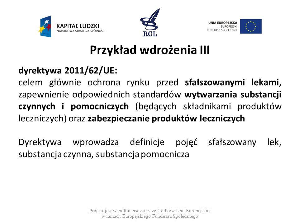 Przykład wdrożenia III dyrektywa 2011/62/UE: celem głównie ochrona rynku przed sfałszowanymi lekami, zapewnienie odpowiednich standardów wytwarzania s