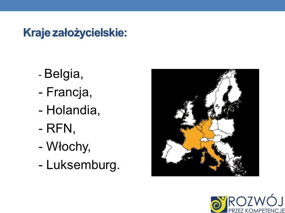 Kraje założycielskie: - Belgia, - Francja, - Holandia, - RFN, - Włochy, - Luksemburg.