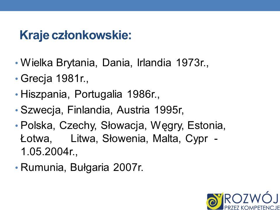 Kraje członkowskie: Wielka Brytania, Dania, Irlandia 1973r., Grecja 1981r., Hiszpania, Portugalia 1986r., Szwecja, Finlandia, Austria 1995r, Polska, C