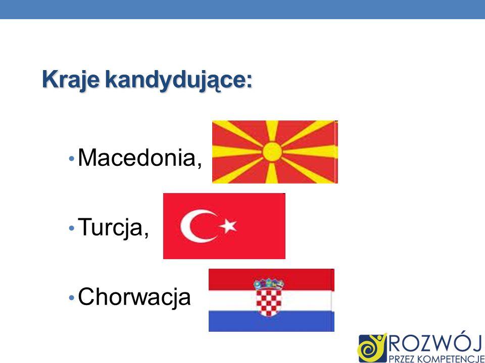 Kraje kandydujące: Macedonia, Turcja, Chorwacja