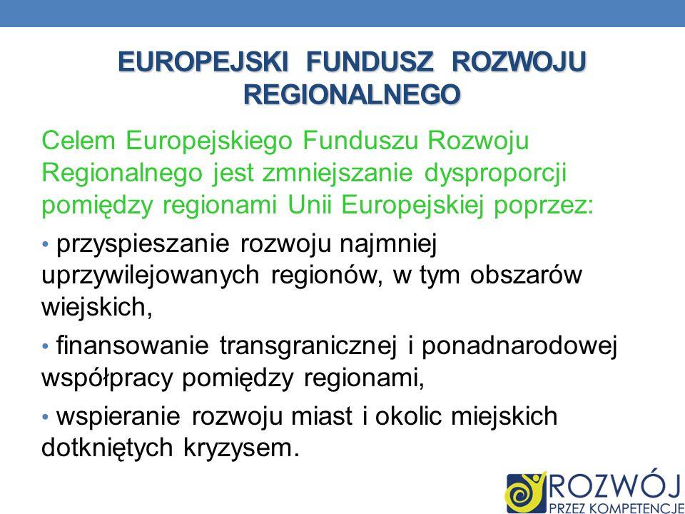 EUROPEJSKI FUNDUSZ ROZWOJU REGIONALNEGO Celem Europejskiego Funduszu Rozwoju Regionalnego jest zmniejszanie dysproporcji pomiędzy regionami Unii Europ