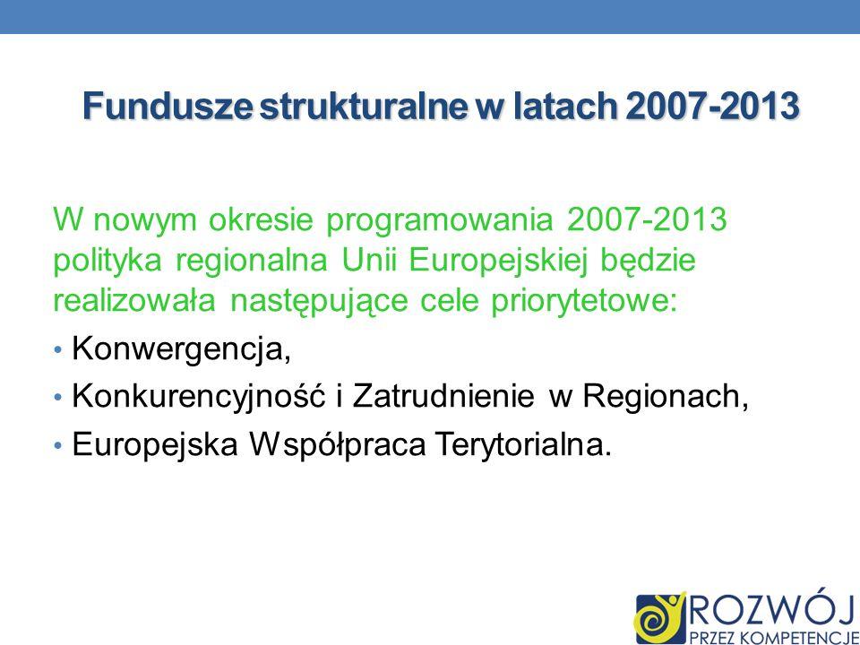 Fundusze strukturalne w latach 2007-2013 W nowym okresie programowania 2007-2013 polityka regionalna Unii Europejskiej będzie realizowała następujące