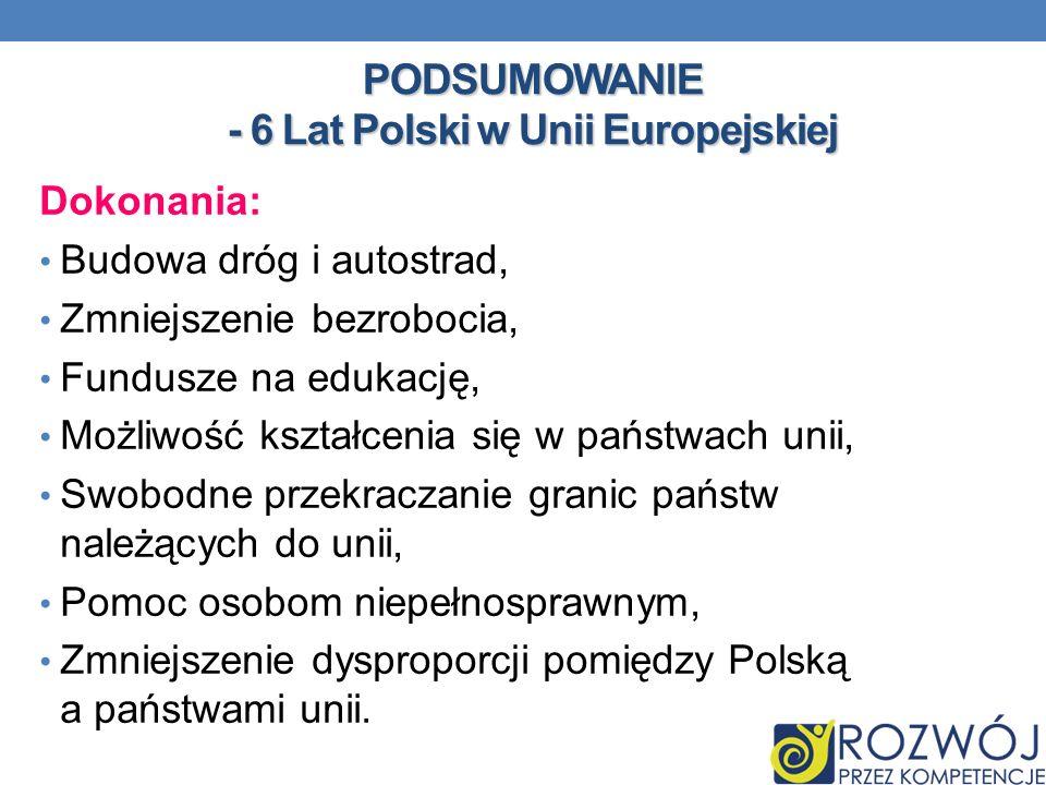 PODSUMOWANIE - 6 Lat Polski w Unii Europejskiej Dokonania: Budowa dróg i autostrad, Zmniejszenie bezrobocia, Fundusze na edukację, Możliwość kształcen
