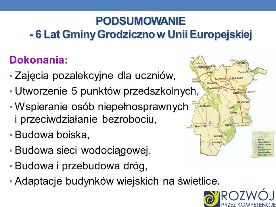 PODSUMOWANIE - 6 Lat Gminy Grodziczno w Unii Europejskiej Dokonania: Zajęcia pozalekcyjne dla uczniów, Utworzenie 5 punktów przedszkolnych, Wspieranie